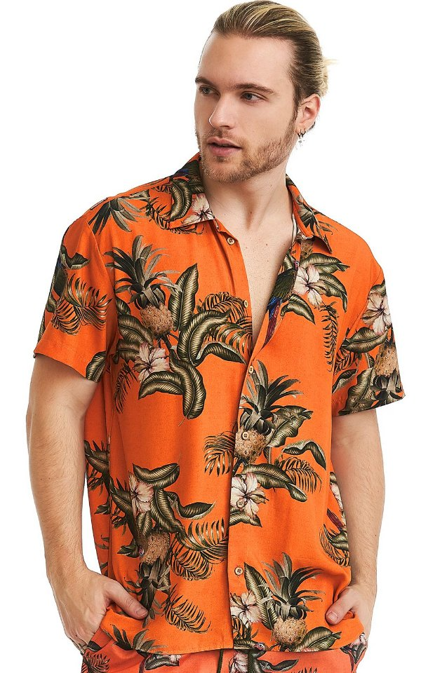 Camisa Masculina Estampada Manga Curta Viscose - Abacaxi Tropical