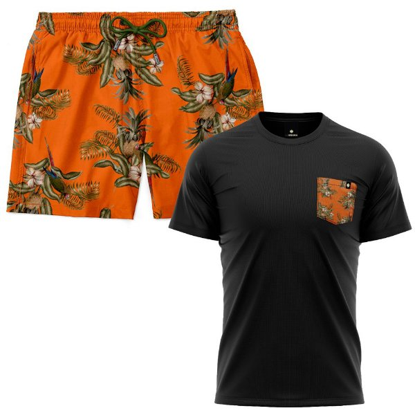 Kit Shorts Praia E Camiseta Bolso Estampado LaVibora - Abacaxi Tropical