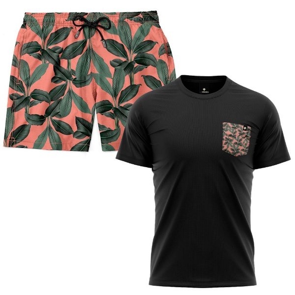 Kit Shorts Praia E Camiseta Bolso Estampado LaVibora - Playa