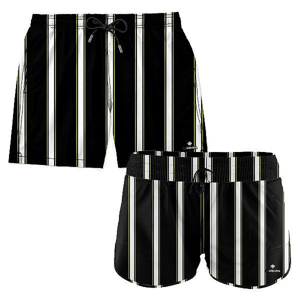 Shorts de Casal Praia Estampados LaVibora - Listras Tricolor