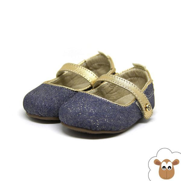 Sapatilha Infantil - Gambo - Jeans escuro e ouro