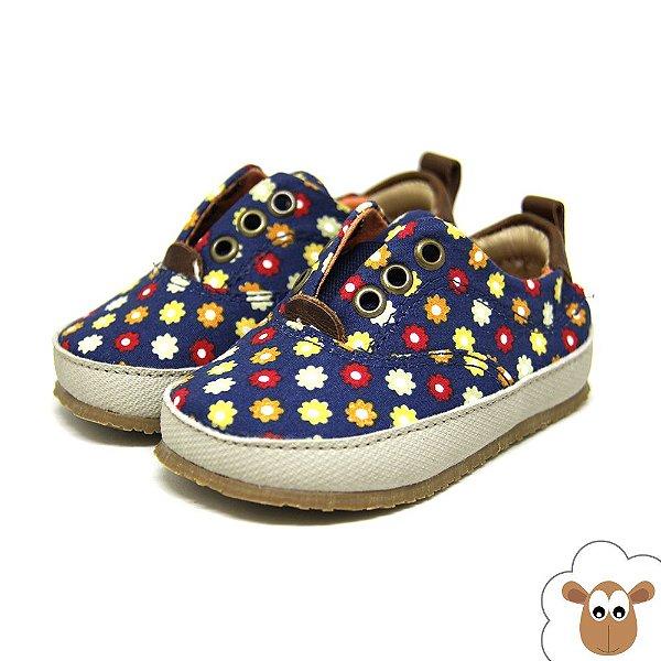 Tênis infantil Sheep Shoes Floral Azul Marinho