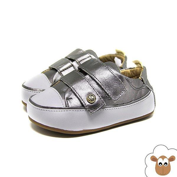 Tênis Infantil Gambo Prata Velcro Velcro