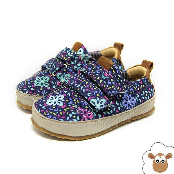 Tênis Infantil Sheep Shoes Floral Azul e Verde Velcro