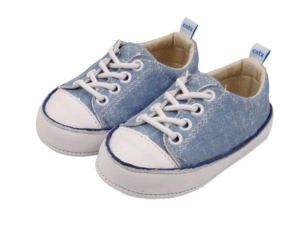 Tênis Infantil Catz Noddy Cadarço Jeans e Branco