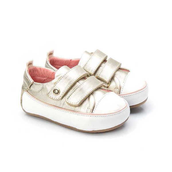 Tênis infantil Sheep Shoes by Gambo Ouro Light e Blush Velcros