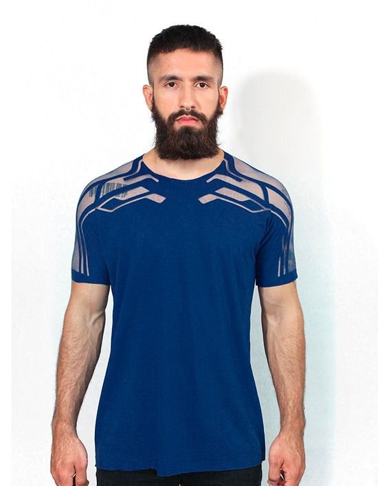 Camiseta Fashion Transparente Azul