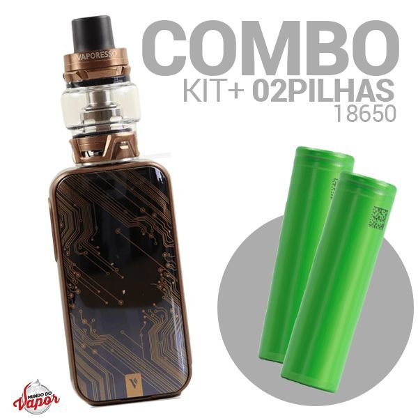 COMBO Kit LUXE S 220w Tanque SKRR - Vaporesso + 2 Bateria/Pilha 18650
