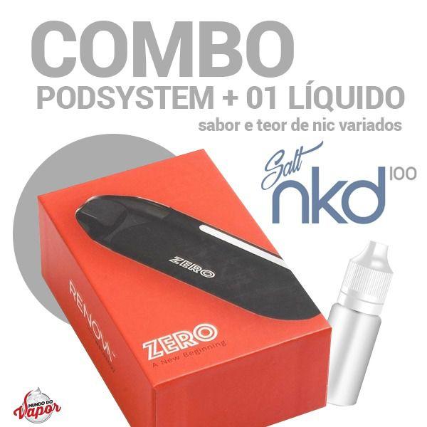 COMBO Kit Pod System Zero 650mAh - Vaporesso + Líquido Naked Salt Nic 30ml