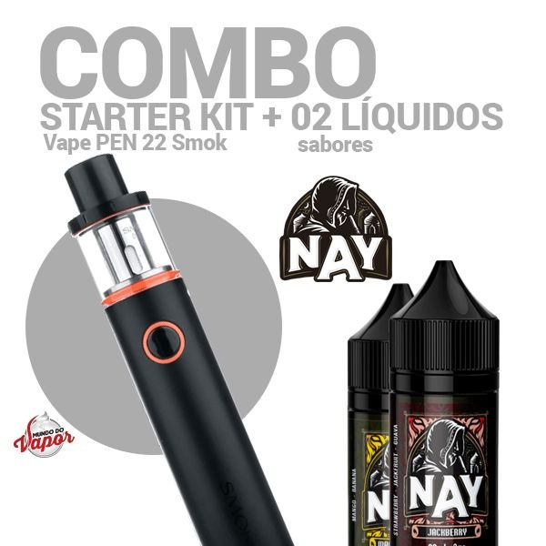 COMBO Kit Vape PEN 22 - Smok + 2 líquidos Nay Sabores 0mg - 30ml