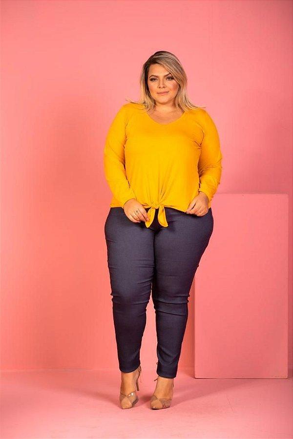 Calça Slim de Bengaline Estampa Jeans