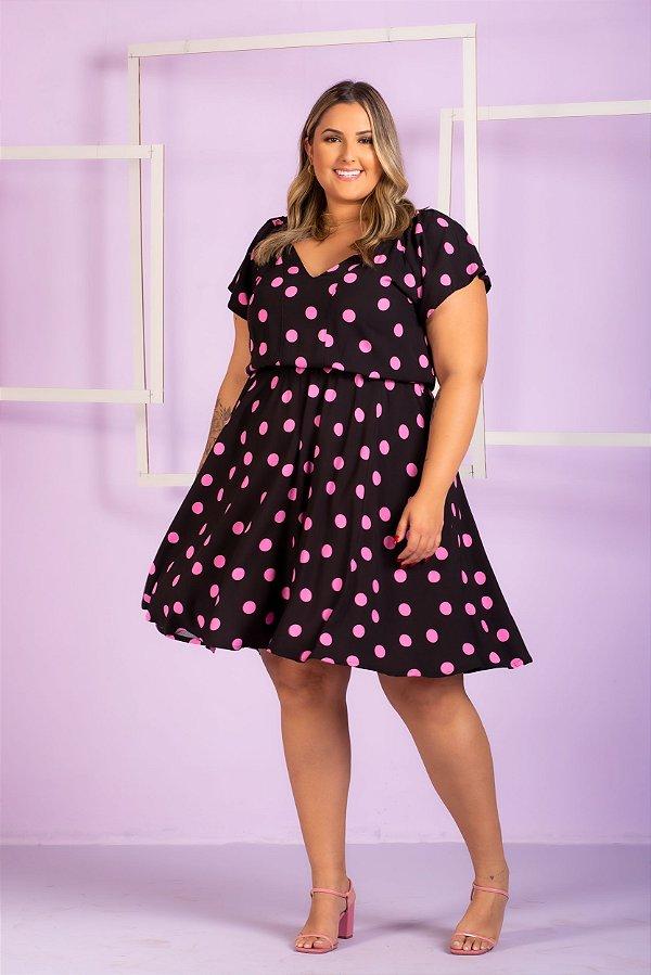 Vestido Estampa Poá Pamela Plus Size