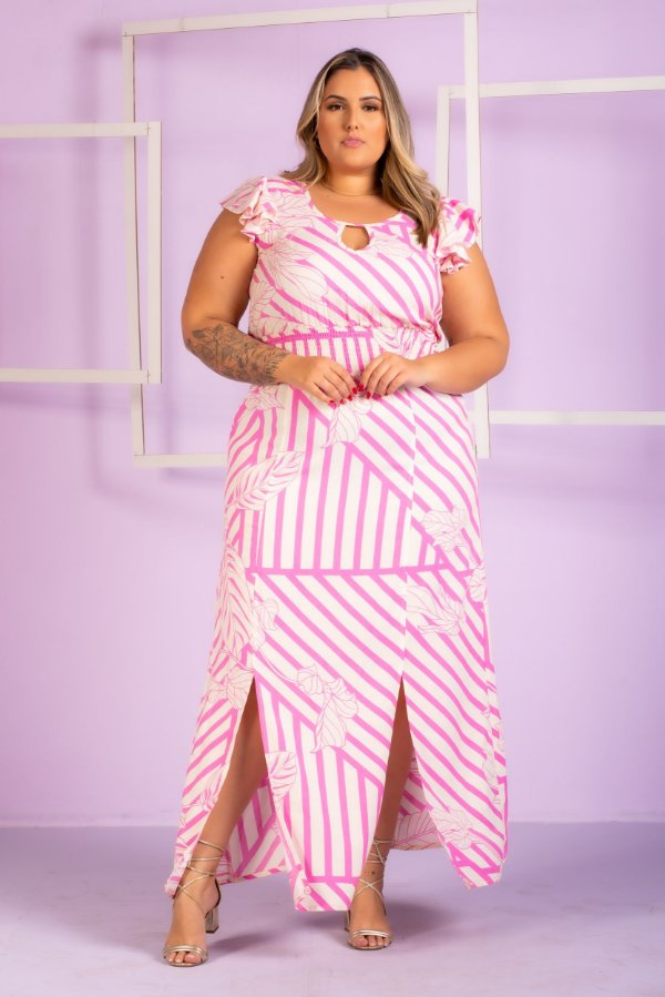 Vestido Longo de Listras Bruna Plus Size