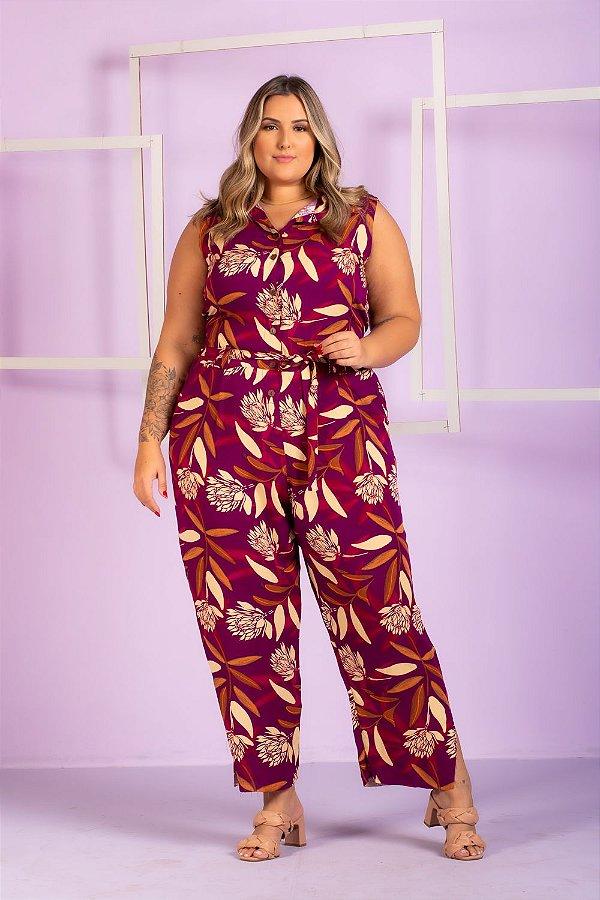 Macacão Estampado Melissa Plus Size