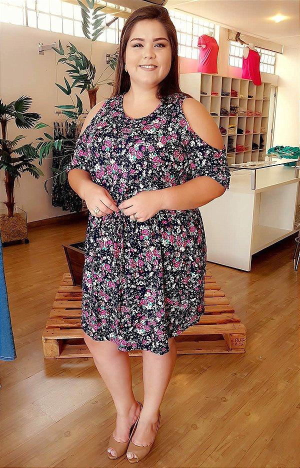 Vestido Ombro Vazado Mix Floral