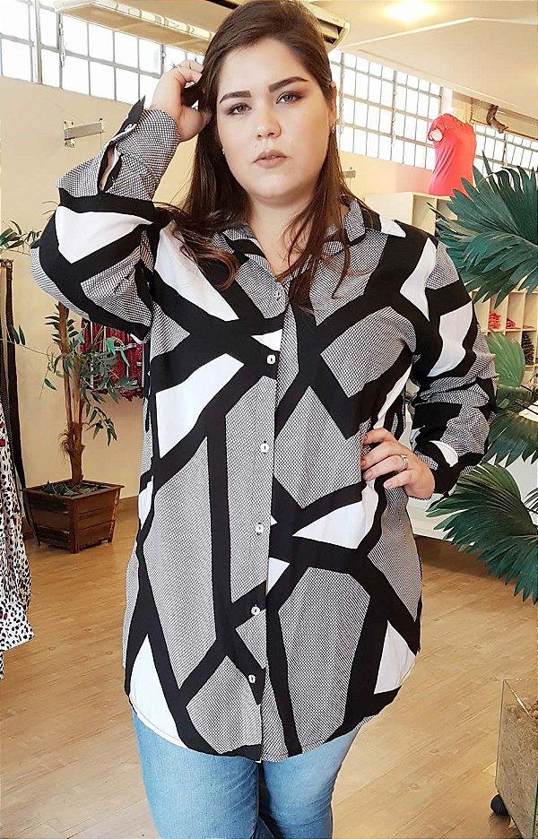Camisa Long Fashion Black White