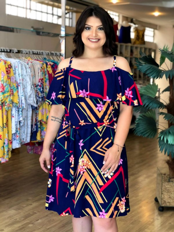 Vestido Puerto Rico Geométrica Plus Size