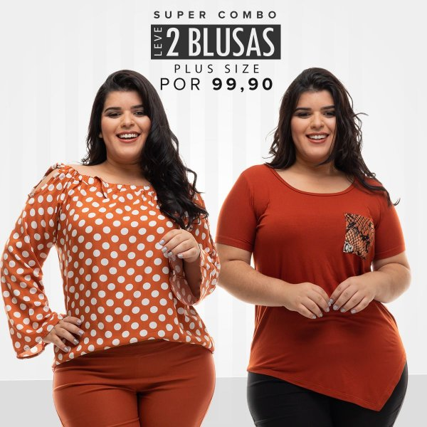 Combo Promocional Leve 2 Blusas Plus Size (Economize R$ 70,00)