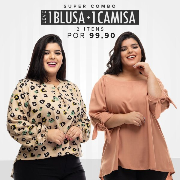 Combo Promocional Leve 1 Camisa + 1 Blusa (Economize R$ 80,00)
