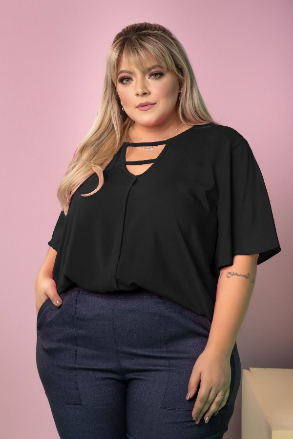 Blusa Work Black Plus Size