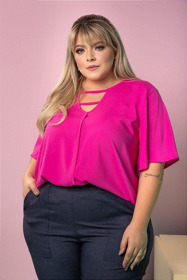 Blusa Work Pink Plus Size