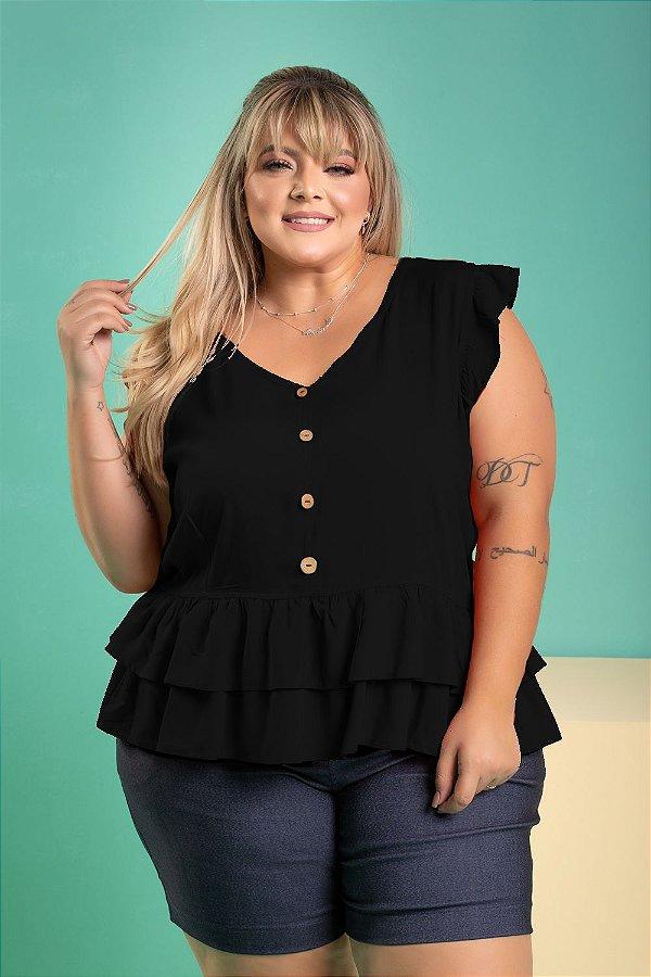 Blusa Spaice Black Plus Size