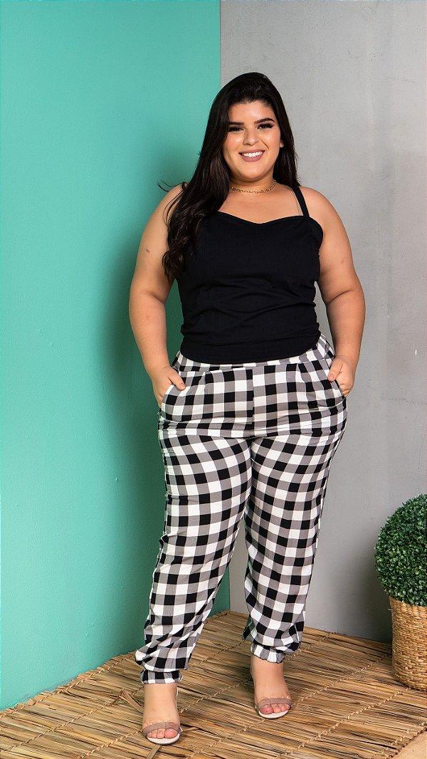 Calça Xadrez Black White Plus Size