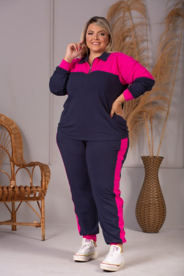 Calça Milan de Moletinho Pink e Azul