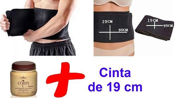Kit Gel Massageador Redutor + Cinta Modeladora de 19 cm