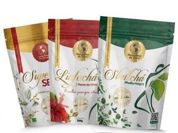 Kit Emagrecimento Super Chá SB + Linfa Chá + Sbelt Chá