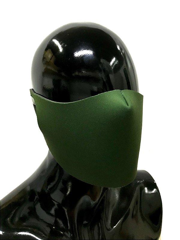 THE MASK: Máscaras Faciais em Neoprene  - Modelo Liso - Cor Verde Exército