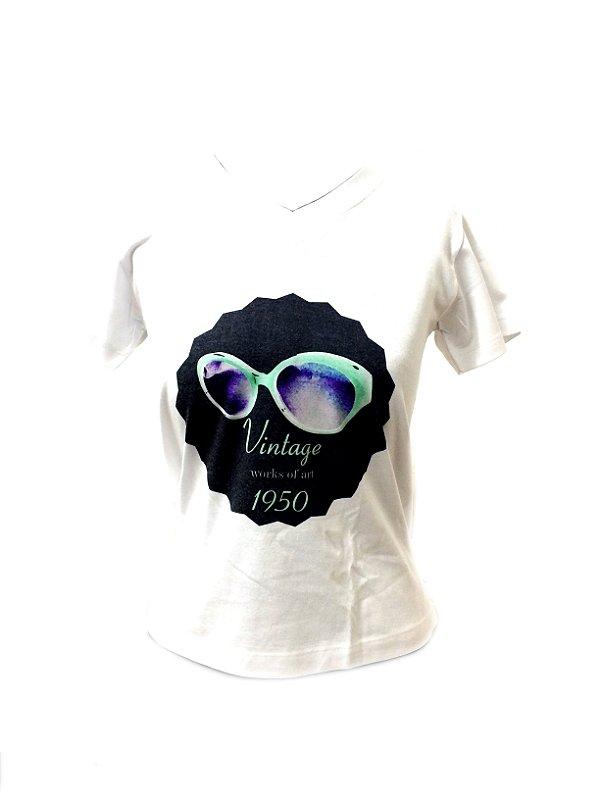 CAMISETA MALHA BABY LOOK Feminino _Gola V_Modelo: VINTAGE 1950 cor Preto