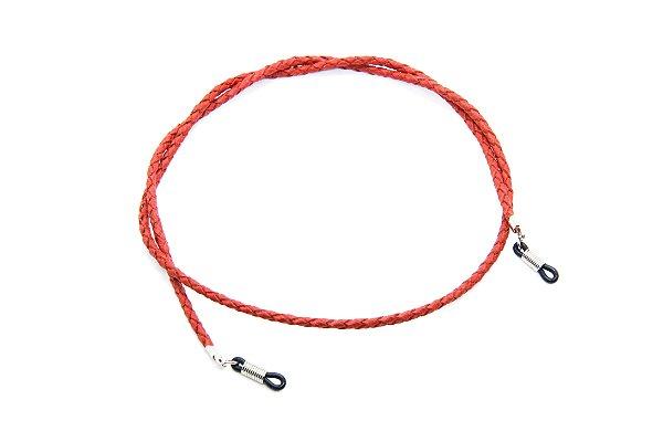 CORRENTE CORDÃO COURO Modelo: Cordão Trançado cor Vermelho