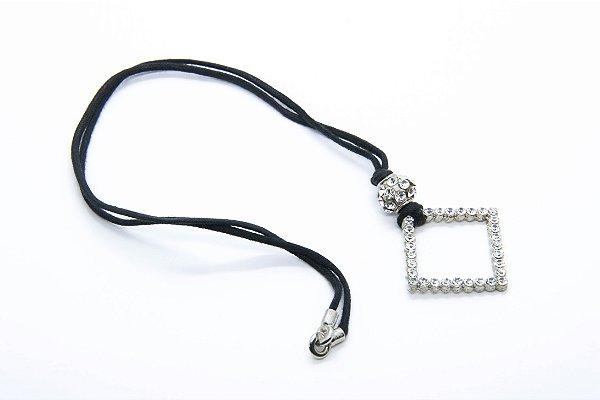 PINGENTE STRASS Modelo: Quadrado 2116-2 cor Prata
