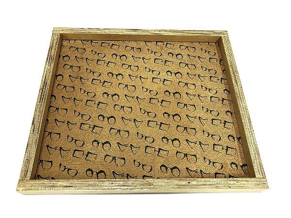 BANDEJA Expositora de Madeira Rústica Modelo: SANT_G cor Bege