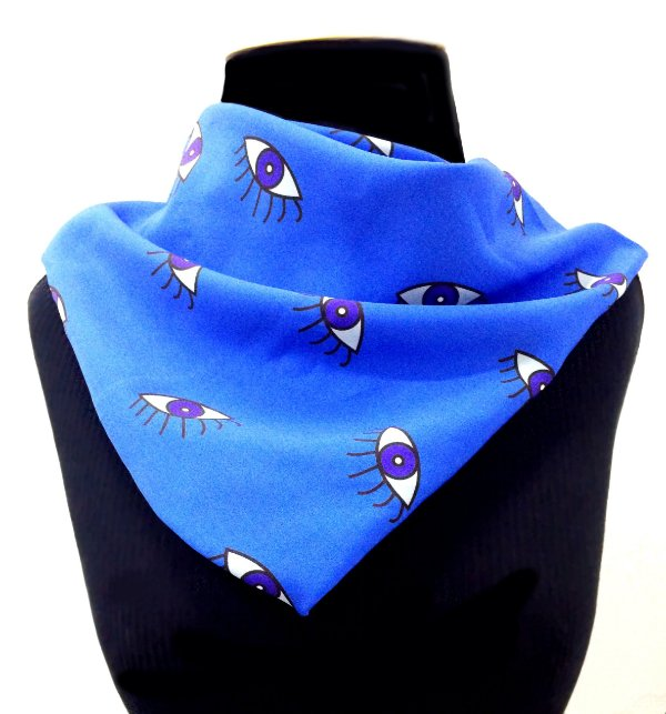LENÇO DE PESCOÇO ou DE CABEÇA Modelo: OLHO VIVO cor Azul