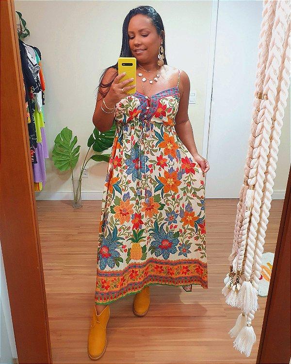 Vestido Cropped Flor de Arara - Farm