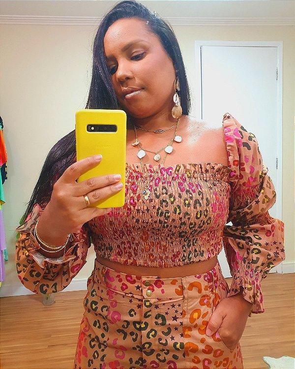 Blusa Lastex Estampa Oncafari - Dress To