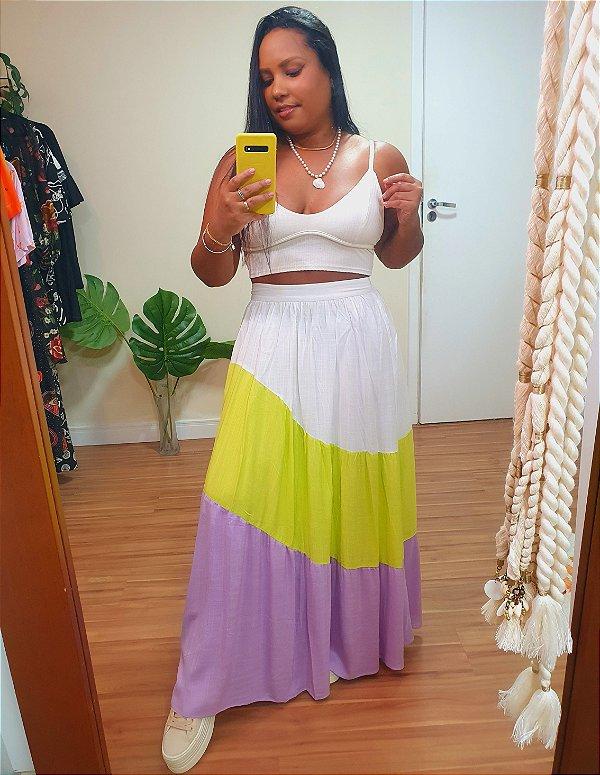 Saia Midi Recortes Colors - Dress To
