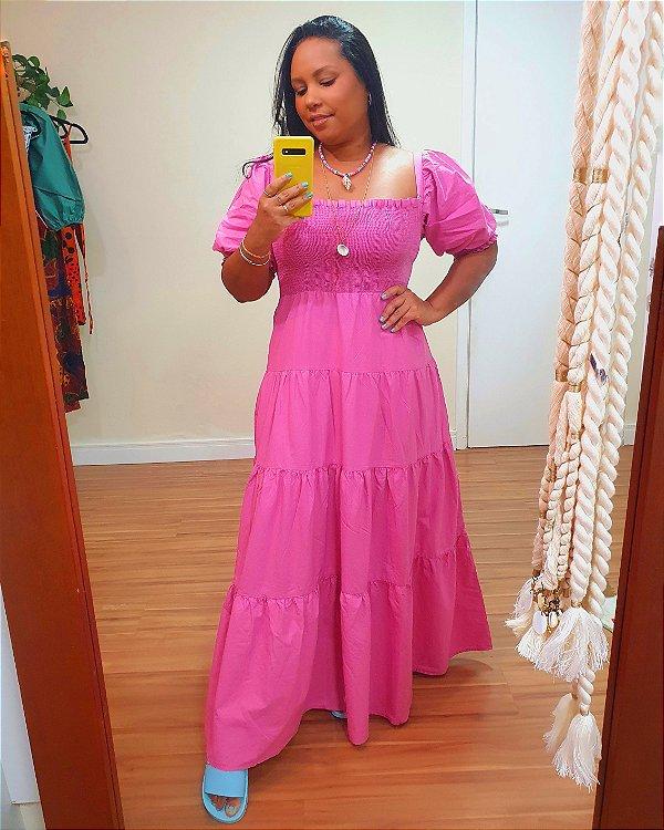 Vestido Cropped Marias Lastex Rosa - Farm