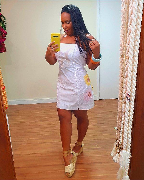 Vestido Curto Bordado Girassol Branco - Dress To