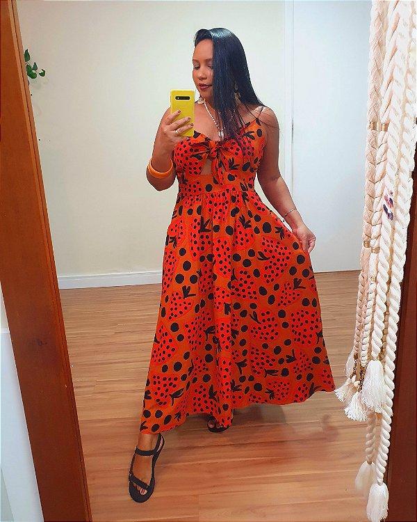 Vestido Midi Coracão de Morango - Farm