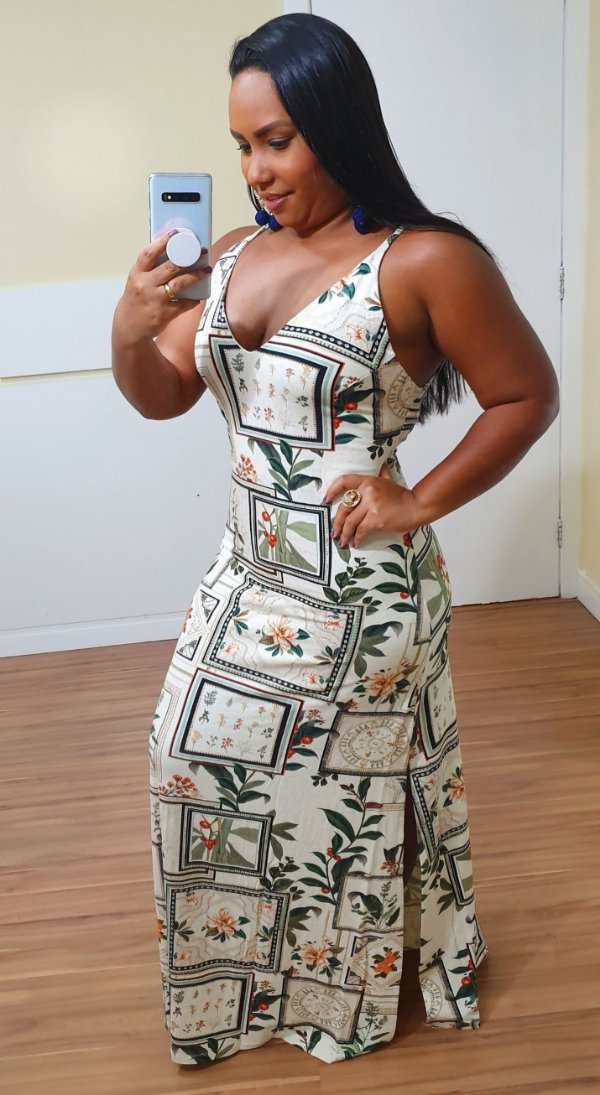 Vestido Dress to Longo Estampa Botânica