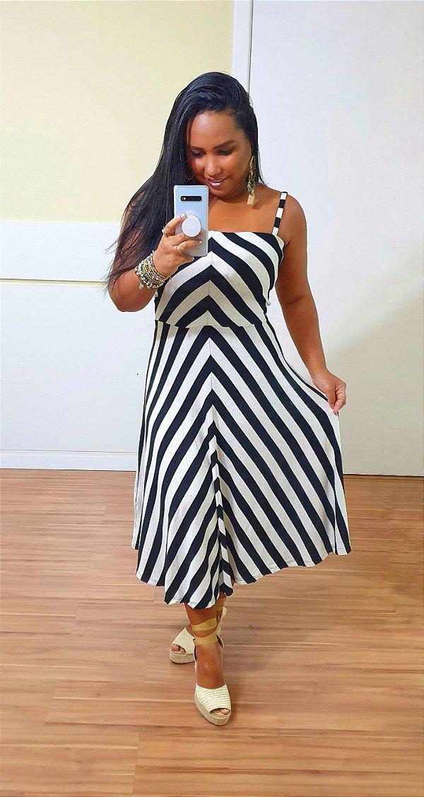 Vestido Dress to Listras Recortes Listrado