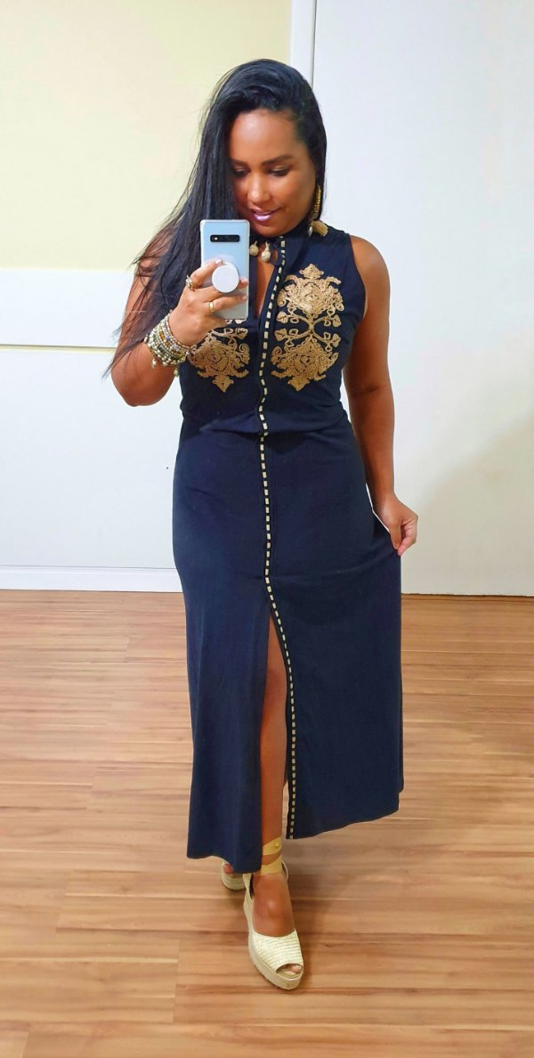Vestido Dress to Bordado Sisal Preto