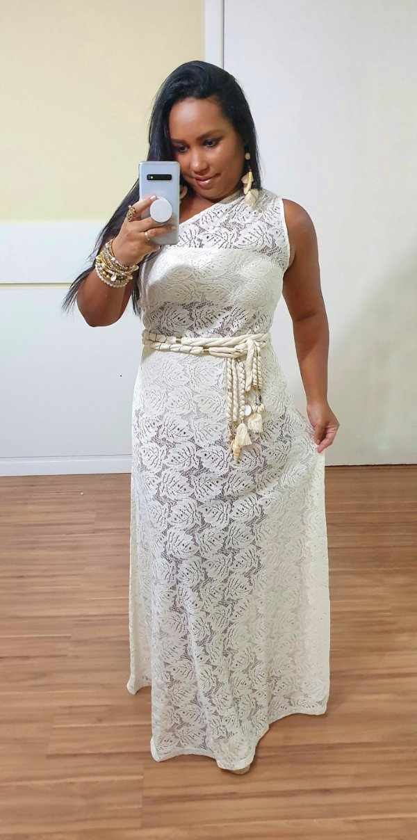 Vestido Dress to Ombro só Renda Off White [Linha Festa]