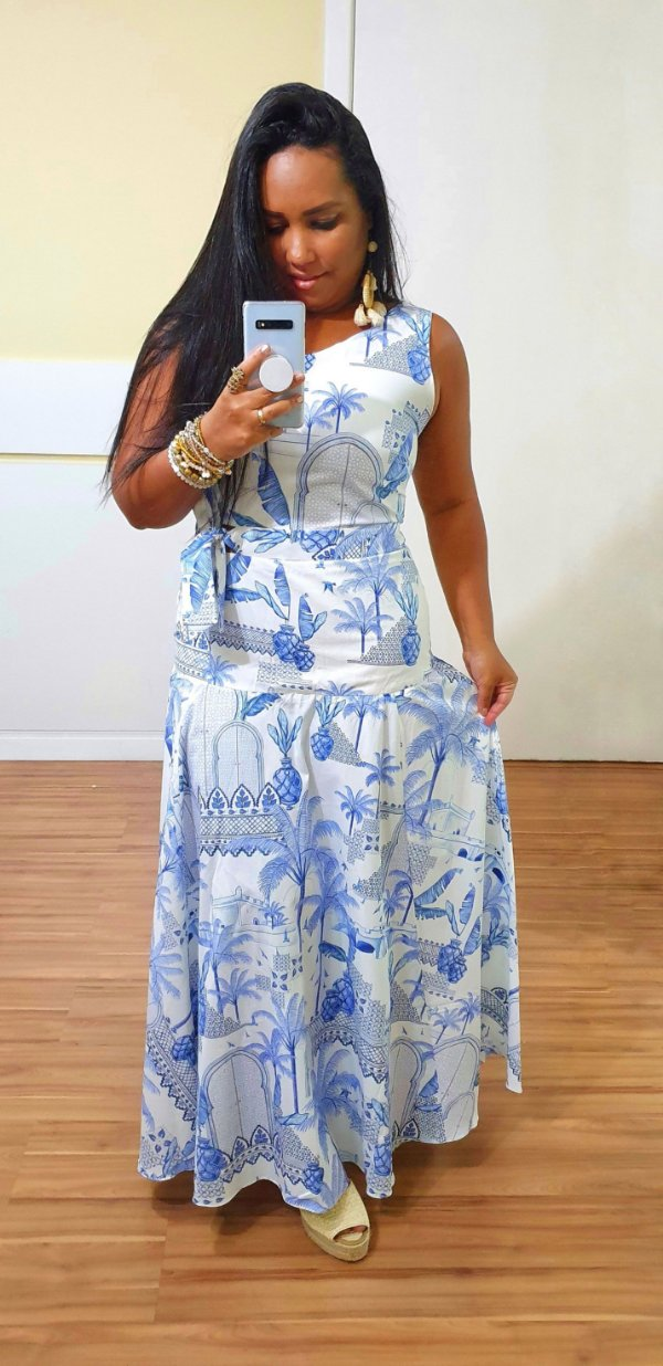 Vestido Dress to Longuete Estampa Portal