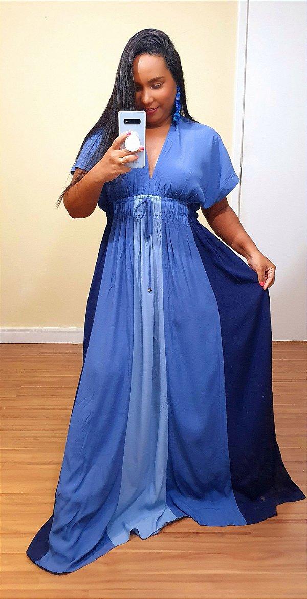 Vestido Dress to Longo Oceano Azul Água