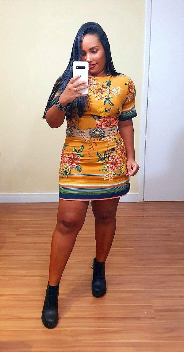 Vestido Dress to Estampa Floreio Amarelo Black
