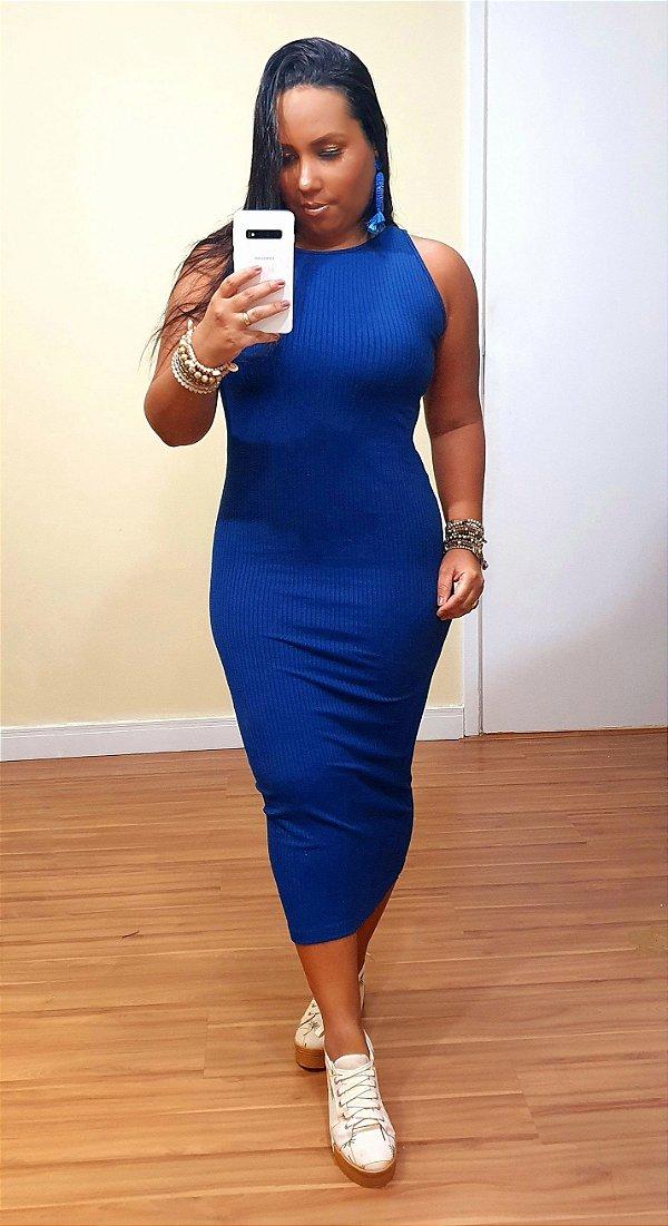 Vestido Midi Cava Americana Azul